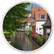 The Canal In The Downtown Of Bruges  Round Beach Towel