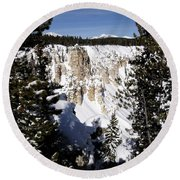 The Canyon In Winter Round Beach Towel