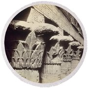 The Capitals Of The Portico Of The Temple Of Khnum In Esna Round Beach Towel