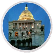 The Capitol At Dusk Round Beach Towel