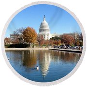 The Capitol In Fall Round Beach Towel