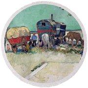 The Caravans   Gypsy Encampment Near Arles Round Beach Towel by Vincent Van Gogh