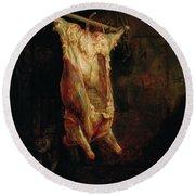 The Carcass Of An Ox, Late 1630s Round Beach Towel