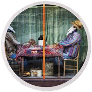 The Card Players Victor Colorado Img 8665 Round Beach Towel