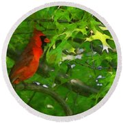 The Cardinal 2 Painterly Round Beach Towel