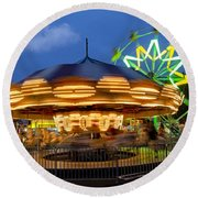 The Carnival Is In Town Round Beach Towel