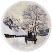 The Carriage- The Road To Honfleur Under Snow Round Beach Towel