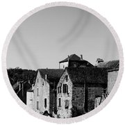 The Castle Above The Village Panorama In Black Nd White Round Beach Towel