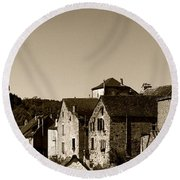 The Castle Above The Village Panorama In Sepia Round Beach Towel