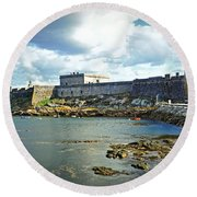 The Castle Fort On The Harbor Round Beach Towel