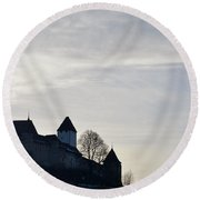 The Castle In Shadow Round Beach Towel