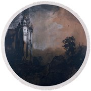 The Castle In The Moonlight  Round Beach Towel