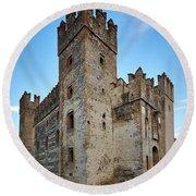 The Castle Of Sirmione. Lago Di Garda Round Beach Towel
