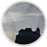 The Castle Silhouette Round Beach Towel