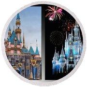 The Castles Of Disney 2 Panel Vertical Round Beach Towel