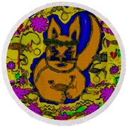 The Cat And His Fish Popart Round Beach Towel