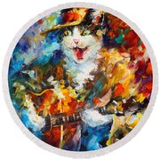The Cat And The Guitar Round Beach Towel