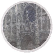 The Cathedral In Rouen Round Beach Towel