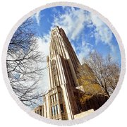 The Cathedral Of Learning 1 Round Beach Towel