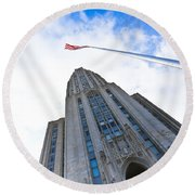 The Cathedral Of Learning 4 Round Beach Towel