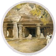 The Cave Of Elephanta, From India Round Beach Towel