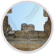 The Ceiling Of The Tetrapylon Aphrodisias Round Beach Towel by Tracey Harrington-Simpson