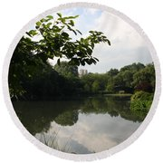 The Central Park Pond Round Beach Towel