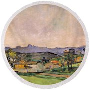 The Chaine De Letoile With The Pilon Du Round Beach Towel by Paul Cezanne