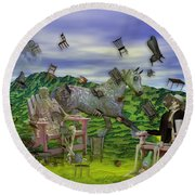 The Chairs Of Oz Round Beach Towel