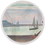 The Channel At Gravelines In The Evening Round Beach Towel