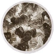 The Chaos, Engraved By Bernard Picart Round Beach Towel