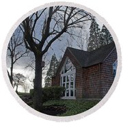 The Chapel At Eagle Point National Cemetery Round Beach Towel