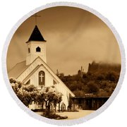 The Chapel At The Supes  Round Beach Towel