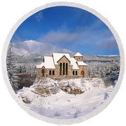 The Chapel On The Rock 3 Round Beach Towel