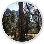 The Chapel Yosemite Round Beach Towel