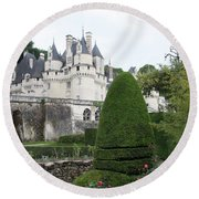 The Chateau's Towers View Round Beach Towel