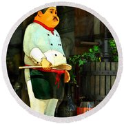 The Chef In The Window Round Beach Towel