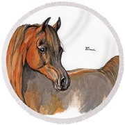 The Chestnut Arabian Horse 2a Round Beach Towel