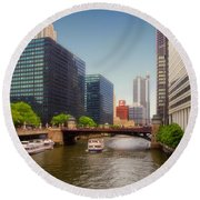 The Chicago River South Branch Round Beach Towel