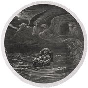 The Child Moses On The Nile Round Beach Towel