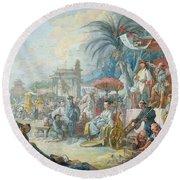 The Chinese Fair, C.1742 Oil On Canvas Round Beach Towel