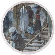 The Christening Gate In Lausanne, C.1861 Round Beach Towel by Matthijs Maris