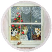 The Christmas Mouse Round Beach Towel by Ditz