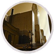 The Chrysler Building In Nyc Round Beach Towel