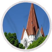 The Chuch Tower- Silute- Lithuania Round Beach Towel
