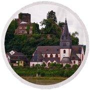 The Church And Heimburg In Niederheimsbach Am Rhein Round Beach Towel