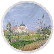The Church At Vaudreuil Round Beach Towel