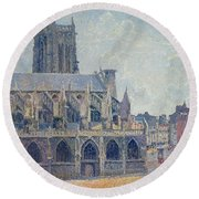 The Church Of St Jacques In Dieppe Round Beach Towel by Camille Pissarro