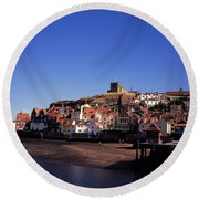 The Church Of St Mary's And Whitby Abbey North Yorkshire England Round Beach Towel