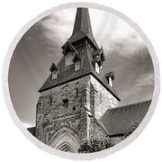 The Church With The Dormers On The Steeple Round Beach Towel